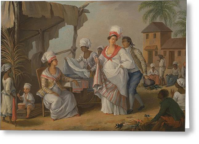 Market Day, Roseau, Dominica Greeting Card by Agostino Brunias