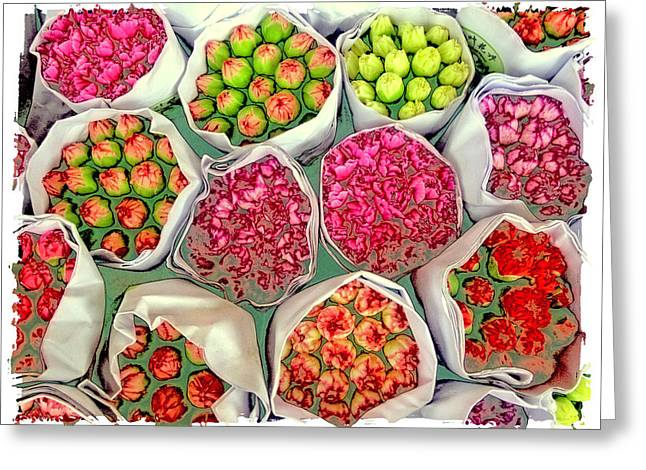 Market Flowers - Hong Kong Greeting Card