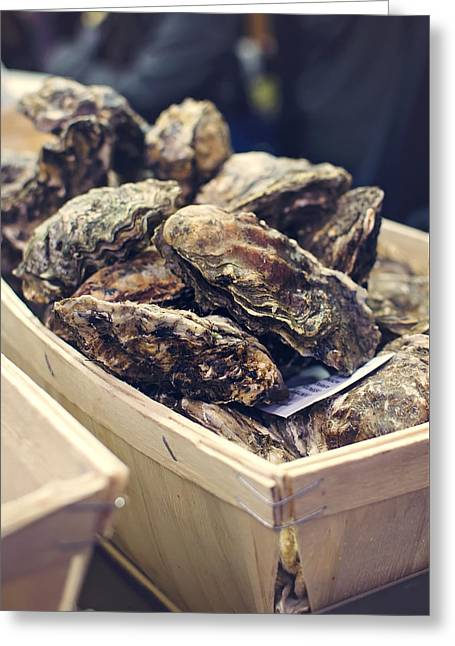 Market Fresh Oysters Greeting Card by Heather Applegate