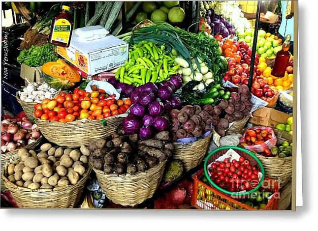 Market Fruits N Vegetables Greeting Card by Noa Yerushalmi