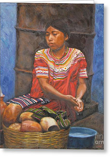 Market Girl Selling Atole Greeting Card by Judith Zur