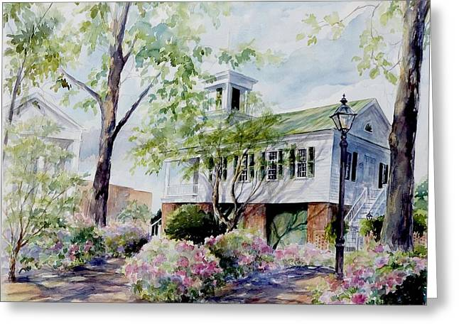 Market Hall In The Spring Greeting Card by Gloria Turner