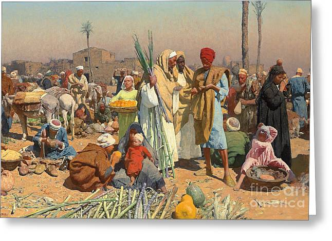Market In Lower Egypt  Greeting Card