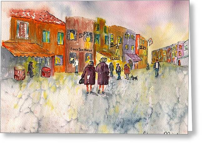 Greeting Card featuring the painting Market Place In Borano by Sharon Mick