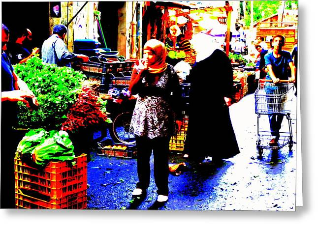 Market Scenes Of Beirut Greeting Card by Funkpix Photo Hunter