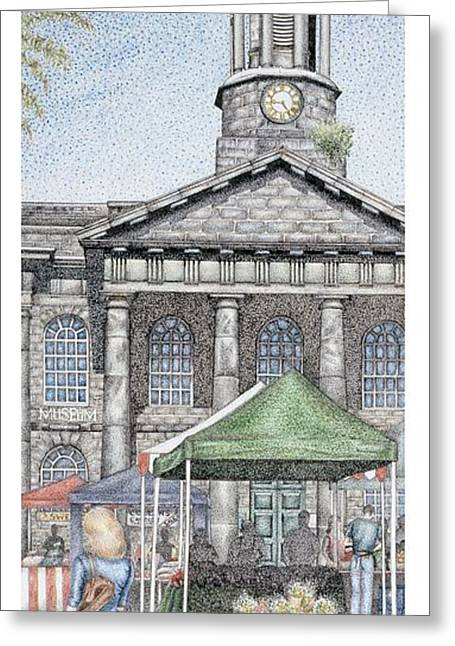 Market Square Clock  Lancaster  Lancashire Greeting Card by Sandra Moore