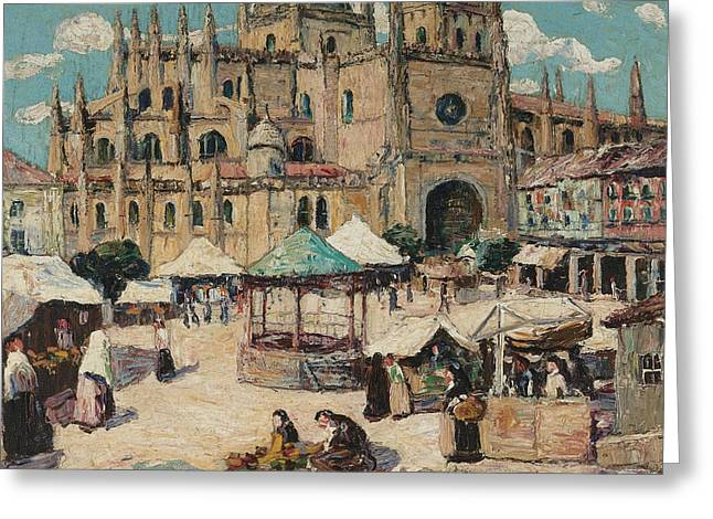 Market Square, Segovia, Spain Greeting Card