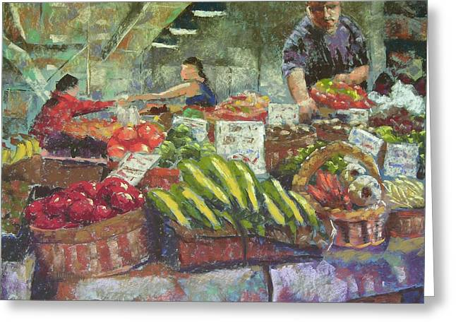 Market Stacker Greeting Card by Mary McInnis