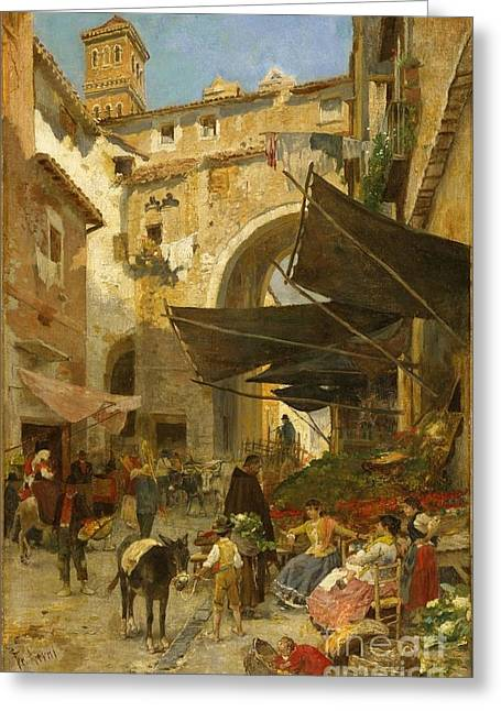 Market Stands In Rome Greeting Card by MotionAge Designs