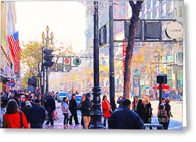 Market Street - Photo Artwork Greeting Card by Wingsdomain Art and Photography