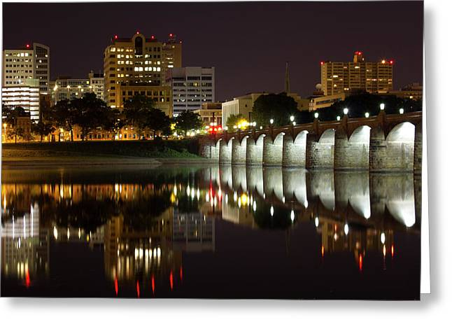 Market Street Bridge Reflections Greeting Card by Shelley Neff