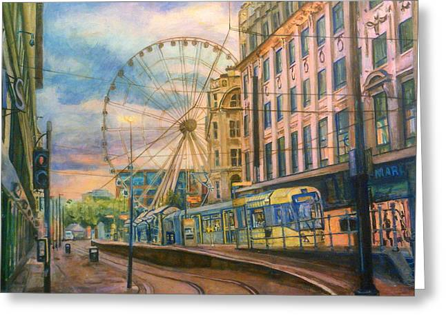 Market Street Metrolink Tramstop With The Manchester Wheel  Greeting Card