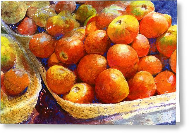 Greeting Card featuring the painting Market Tomatoes by Andrew King