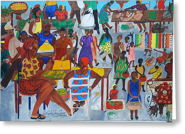Marketplace Jacmel Haiti Greeting Card by Nicole Jean-Louis
