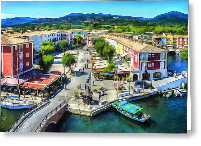 Marketplace In Port Grimaud Greeting Card