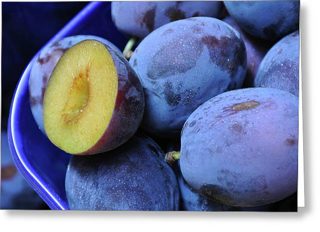 Marketplace Plums Greeting Card