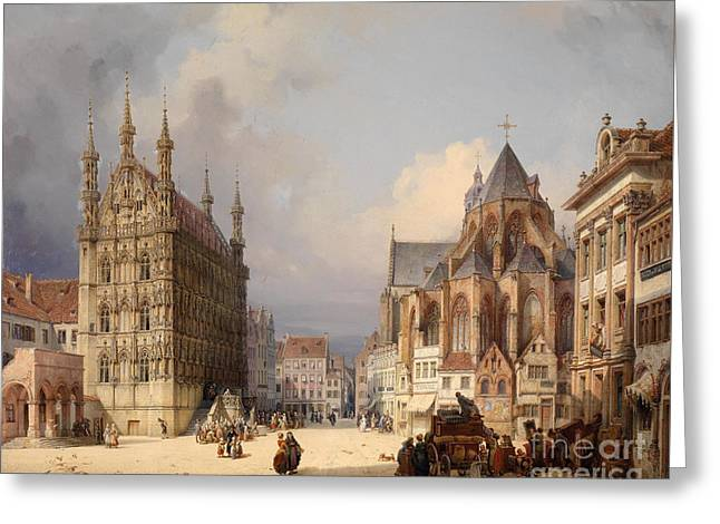 Marketsquare Leuven Greeting Card by Michael Neher