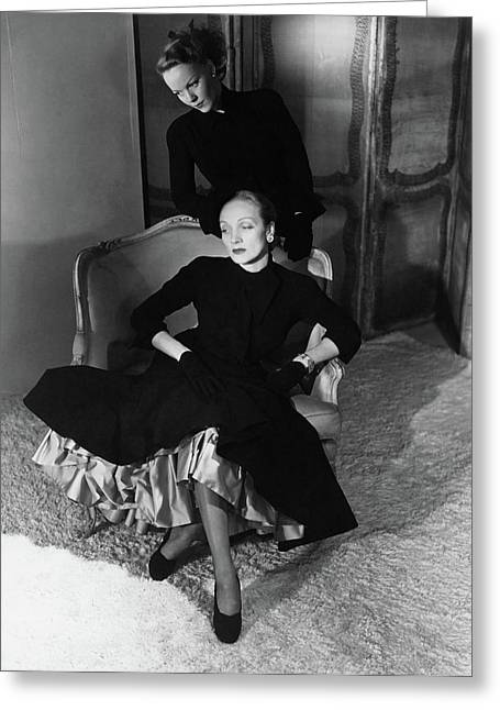 Marlene Dietrich And Her Daughter Maria Riva Greeting Card