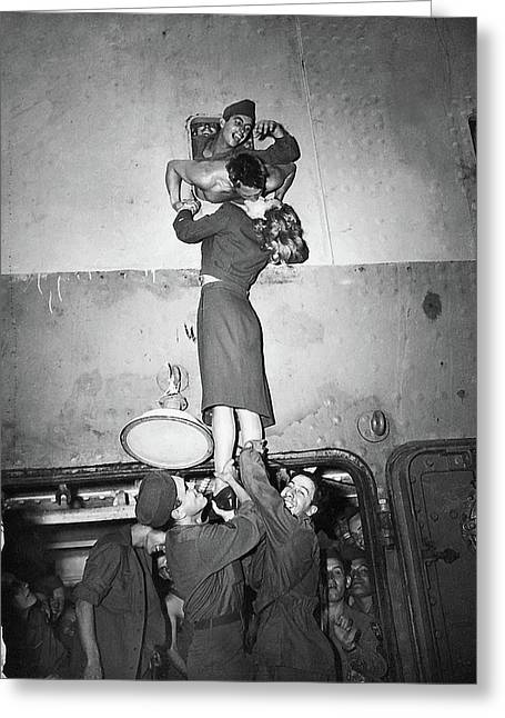 Marlene Dietrich Kissing Soldier Returning From Ww2 1945 Greeting Card