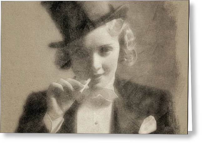 Marlene Dietrich, Vintage Actress By John Springfield Greeting Card