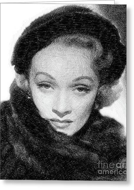 Marlene Dietrich, Vintage Actress By Js Greeting Card
