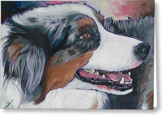 Greeting Card featuring the painting Marley by Nadi Spencer