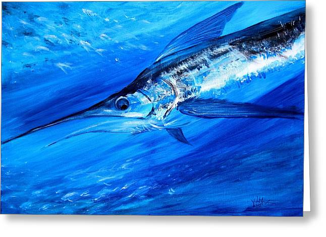 Marlin, Feeding Greeting Card by J Vincent Scarpace
