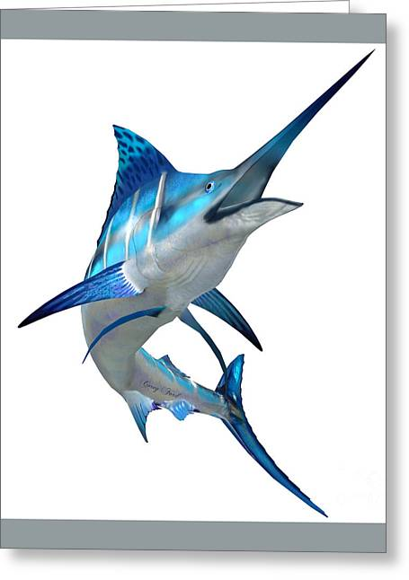 Marlin Fish On White Greeting Card by Corey Ford