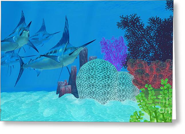 Marlin Looking For Prey Greeting Card by Corey Ford