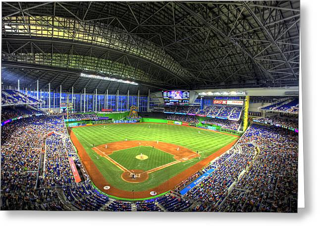 Marlins Park Greeting Card by Shawn Everhart