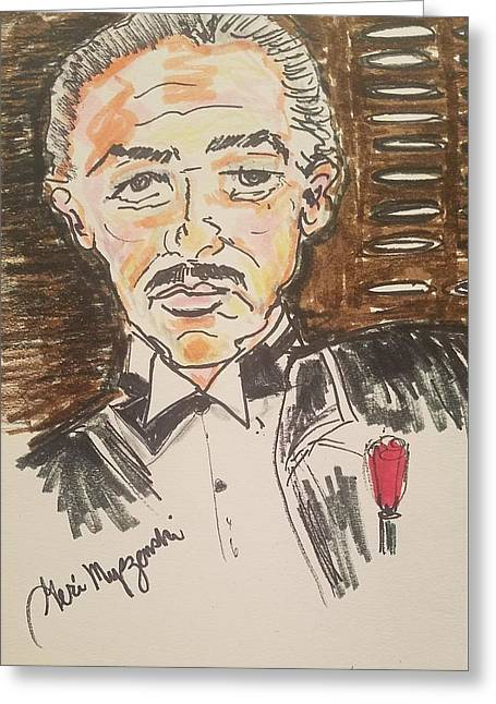 Marlon Brando The Godfather Greeting Card by Geraldine Myszenski