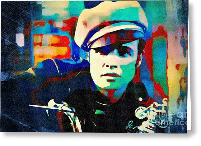 Marlon Brando - The Wild One Greeting Card by Ian Gledhill