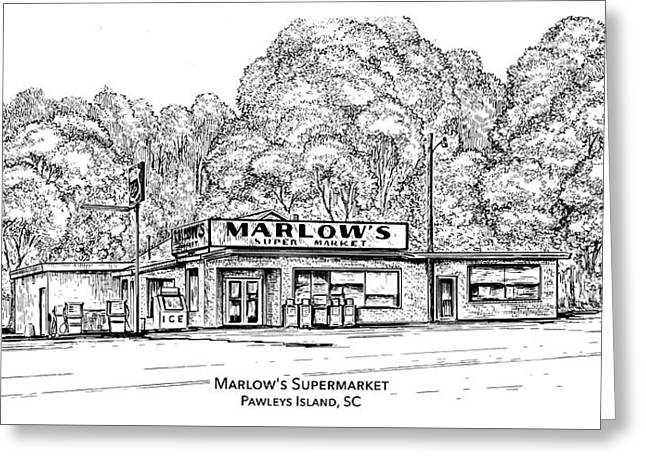 Marlows Market Greeting Card by Greg Joens