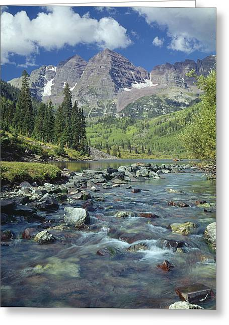 210404-maroon Bells And Creek  Greeting Card