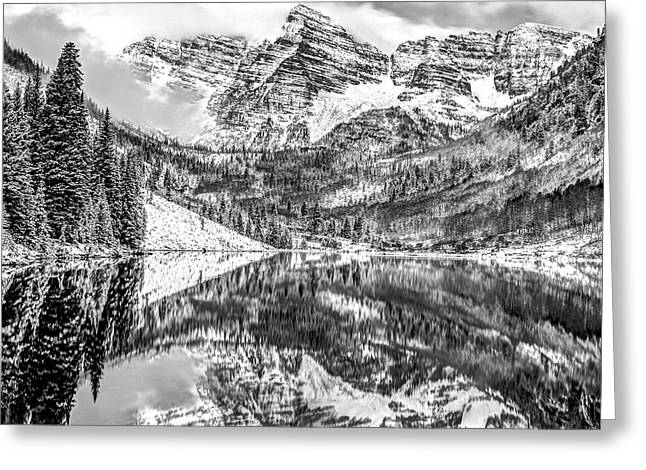 Maroon Bells - Aspen Colorado - Black-white - American Southwest 1x1 Greeting Card