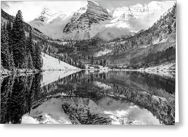 Greeting Card featuring the photograph Maroon Bells - Aspen Colorado - Monochrome - American Southwest 1x1 by Gregory Ballos