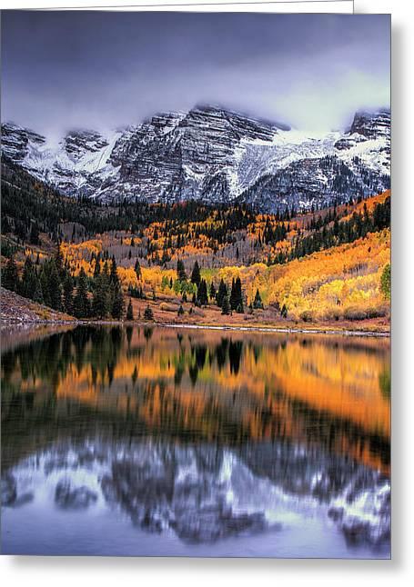Maroon Bells At Autumn Greeting Card