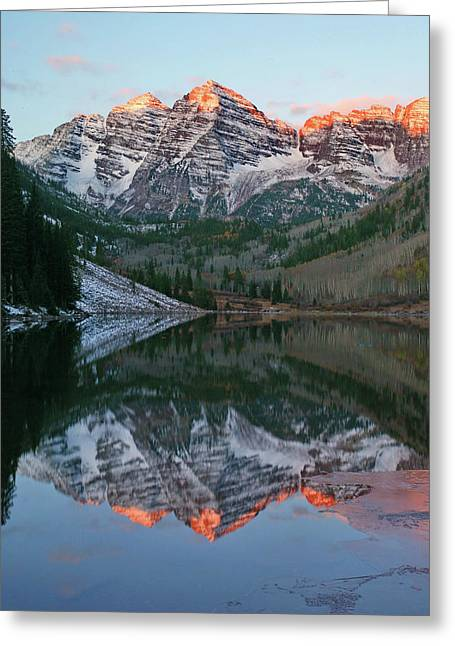 Maroon Bells At Sunrise Greeting Card