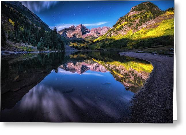 Maroon Bells By Moonlight Greeting Card