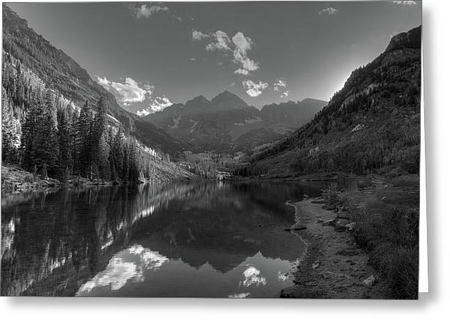 Maroon Bells Colorado B W Greeting Card