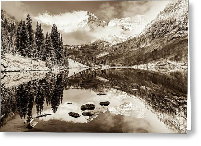 Maroon Bells Covered In Snow - Aspen Colorado - Sepia Edition Greeting Card