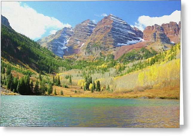 Greeting Card featuring the photograph The Maroon Bells Reimagined 2 by Eric Glaser