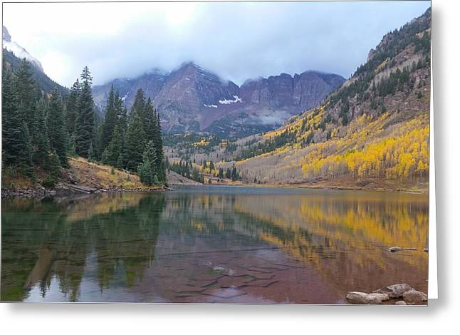 Maroon Bells In Autumn - Snow Mass, Co Greeting Card by Nathaniel Carter