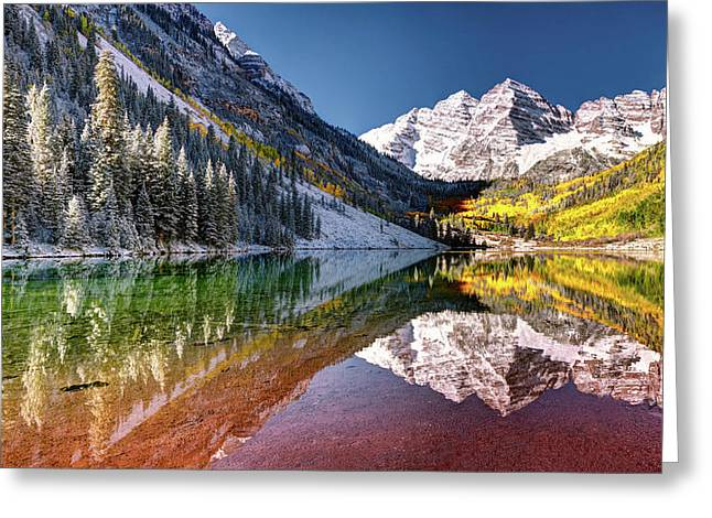 Olena Art Sunrise At Maroon Bells Lake Autumn Aspen Trees In The Rocky Mountains Near Aspen Colorado Greeting Card