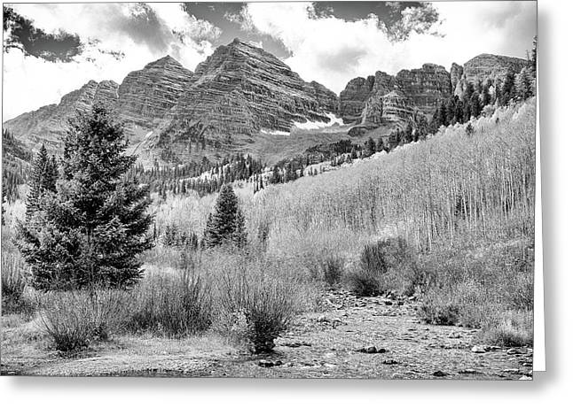 Greeting Card featuring the photograph Maroon Bells Monochrome by Eric Glaser