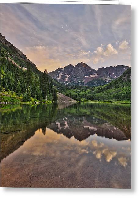 Maroon Bells Sunset - Aspen - Colorado Greeting Card by Photography  By Sai