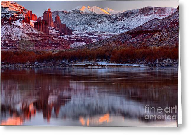 Maroon Fisher Towers Greeting Card by Adam Jewell