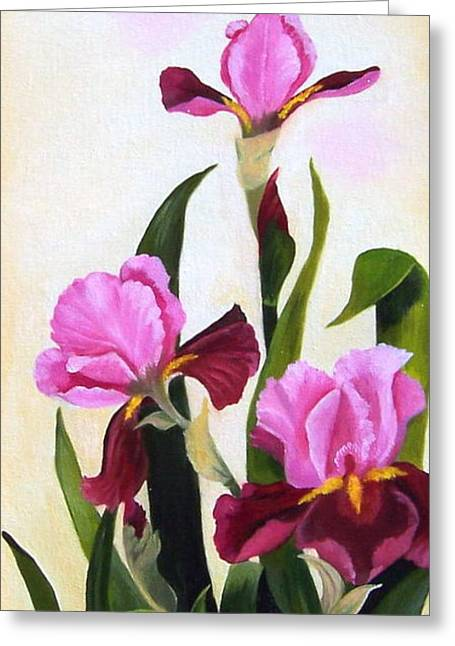 Maroon Iris Greeting Card by Ruth  Housley