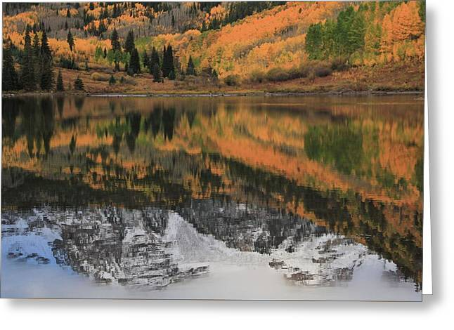 Maroon Lake Autumn Reflections Greeting Card