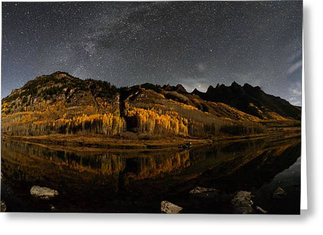 Maroon Lake Milky Way Panorama Greeting Card by Mike Berenson